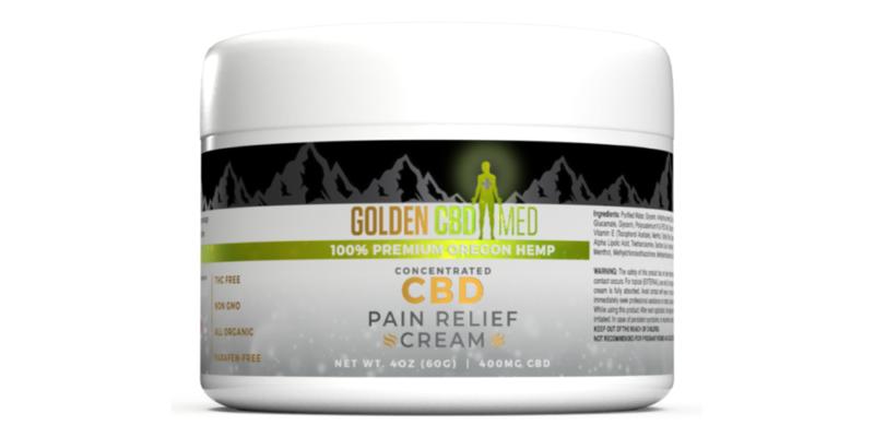 Golden CBD cream 3D product bottle rendering with graphic design label