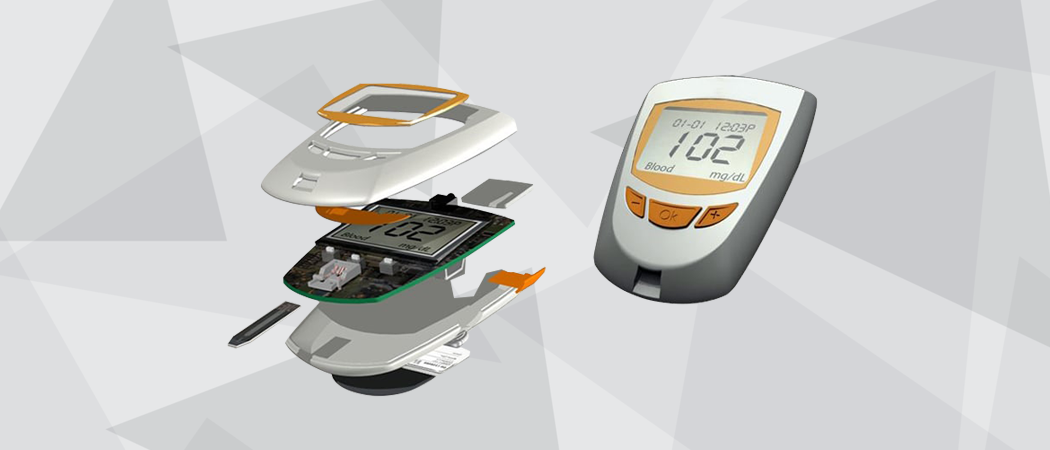 3D rendered industrial design electrically engineered glucose meter