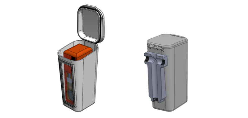 throw raft 3D Cad model product prototype made of hard plastic with mechanical engineering elements
