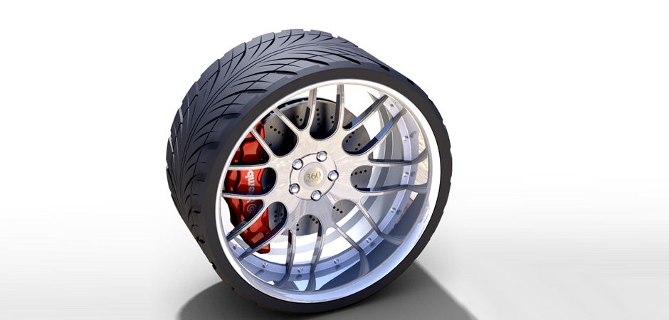 photo realistic 3D rendering of a car tire with rims