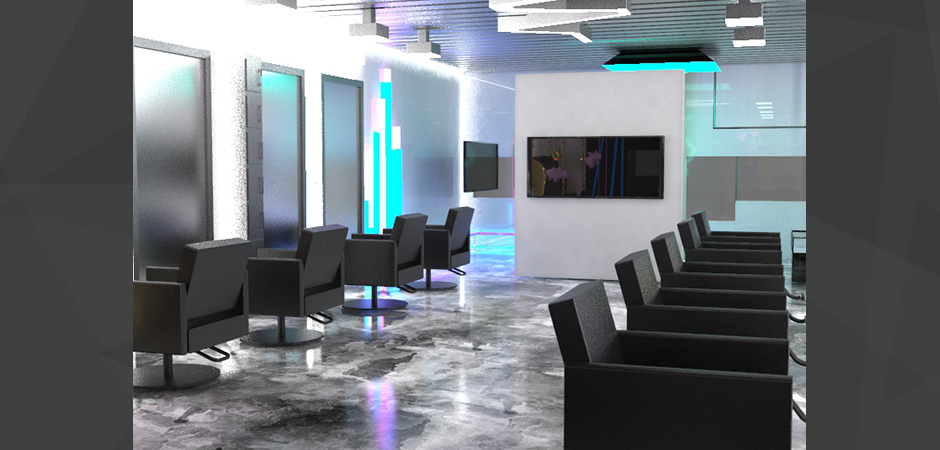 3D photo realistic architectural rendering of the Cash Salon remodeling, view of the hair styling sections with chairs, mirror, and a flat screen tv