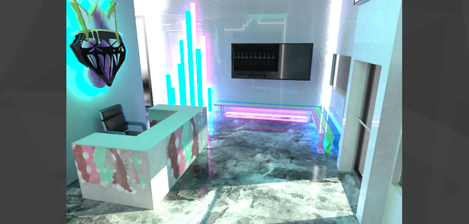 3D photo realistic interior design rendering of the Cash Salon in South Florida