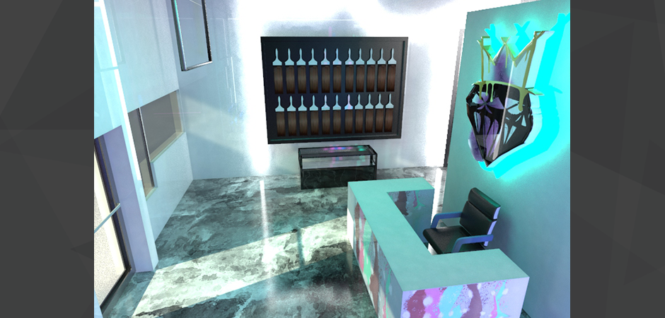 3D photorealistic rendering of the Cash Salon remodeling, with hair extension wall, and LED wall mounted logo