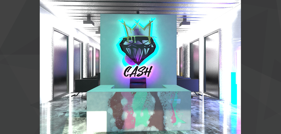3D photo realistic architectural front desk rendering of the Cash Salon remodeling, with mirrors, hair dressing chairs, and LED wall mounted logo