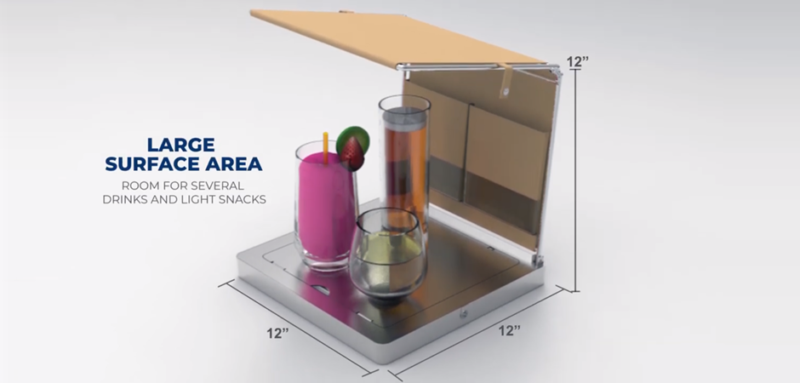 Photorealistic 3D prototype rendering of the Cocktail Cabana poolside product drink cooling accessory with industrial details