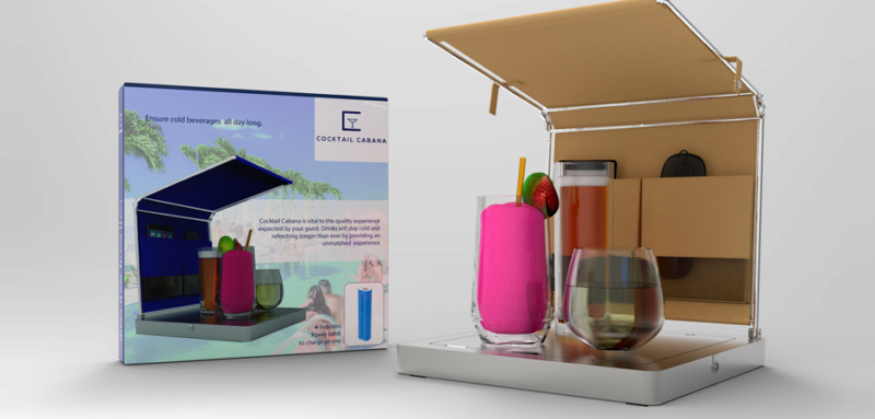 Photorealistic 3D rendering of the Cocktail Cabana poolside drink cooling accessory with packaging