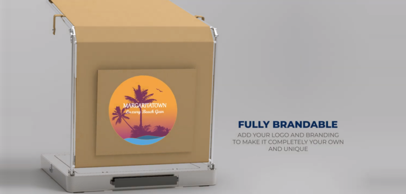 Photorealistic 3D prototype rendering of the Cocktail Cabana poolside product drink cooling accessory South Florida graphic logo variant