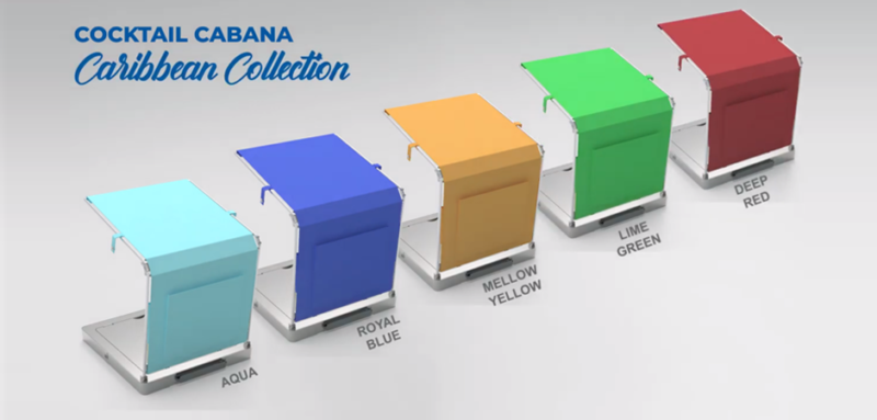Photorealistic 3D prototype rendering of the Cocktail Cabana poolside product drink cooling accessory with varying colors