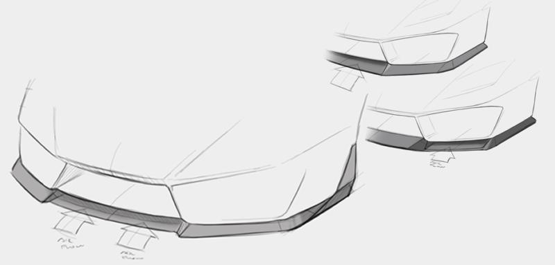Autmotive concept sketches for Lamborghini splitter design