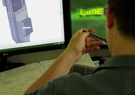 3D CAD modeling industrial design research with Solidworks on a computer in Lime Design's South Florida office