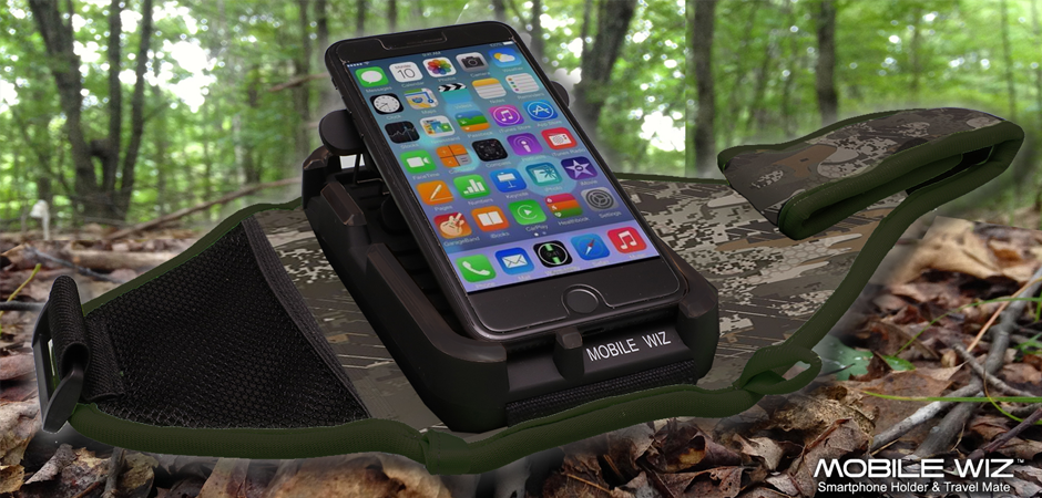 Mobilewiz smartphone product accessory with new colors in a South Florida forest
