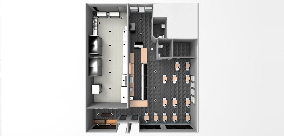 Photo realistic 3D rendering of the Nanou Bakery kitchen in Hallandale, South Florida overhead floor plan