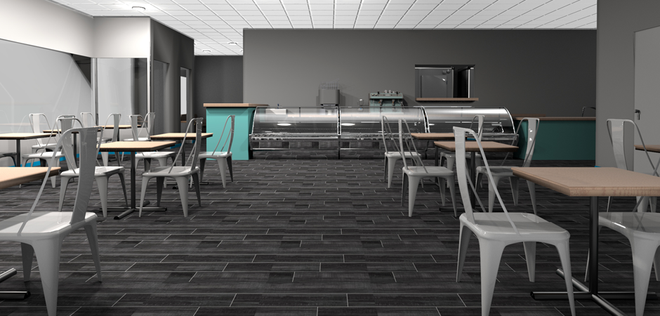 Photo realistic 3D interior design rendering of the Nanou Bakery kitchen in Hallandale, South Florida