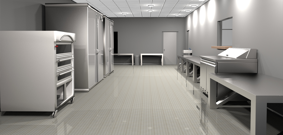 Photo realistic 3D architectural rendering of the Nanou Bakery kitchen in Hallandale, South Florida.