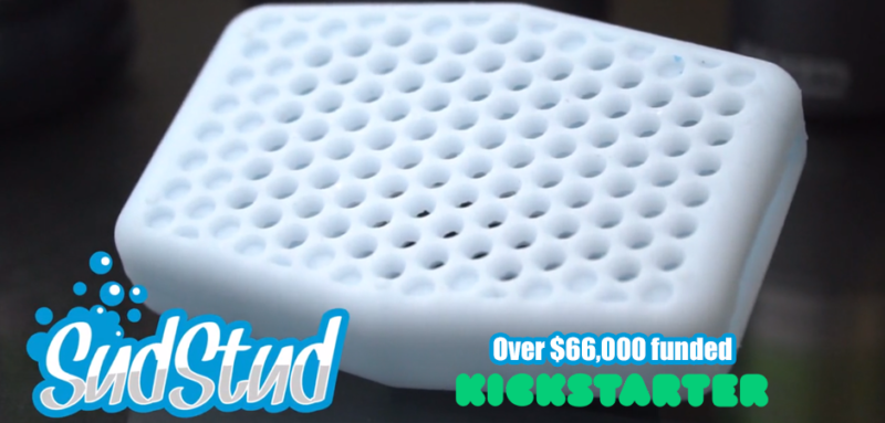 Houseware Products Sud Stud silicone soap sleeve industrial product design with graphic design logo and kickstarter crowdfunding logo novelty product
