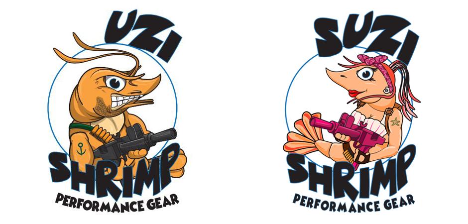 Uzi Shrimp graphic design character branding logos with uzi guns