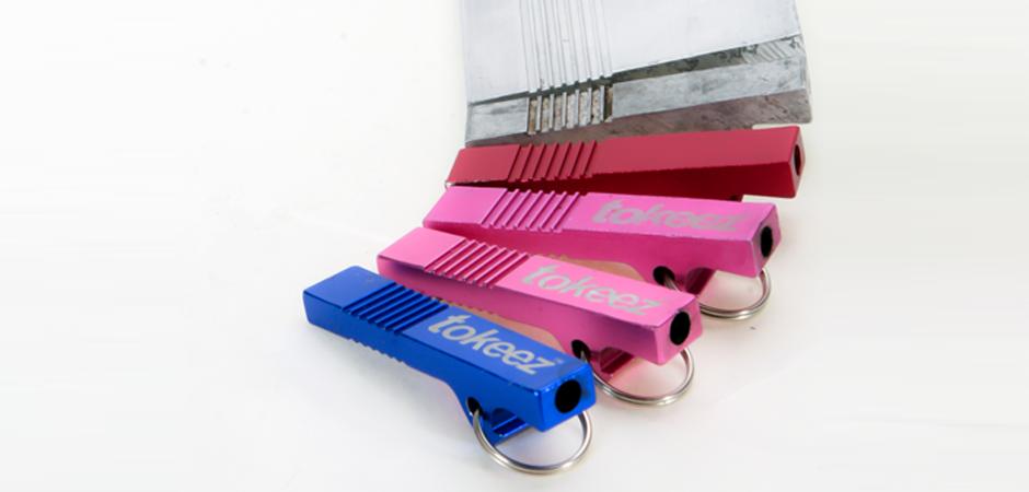 Manufactured tokeez aluminum extruded novelty smoking product accessory