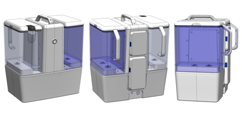 3D CAD models of Pidge Industries water treatment medical product opening