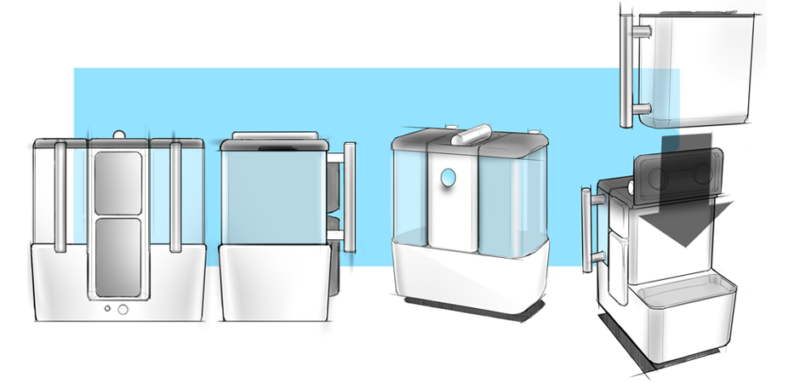Concept sketches of Pidge Industries water treatment medical product