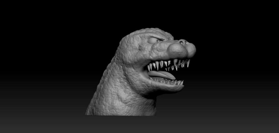 3D sculpt of Godzilla Digital Sculpting