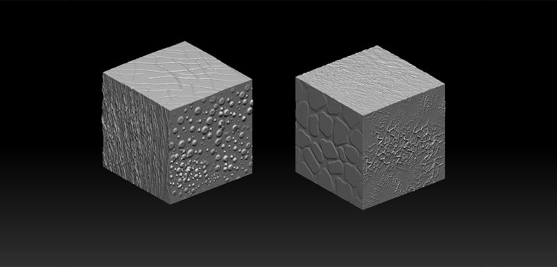 3D textured cubes Digital Sculpting