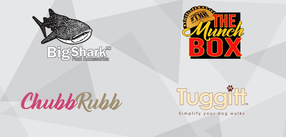 BigShark Pool Accessories, The Munch Box, ChubbRubb, and Tuggit graphic design logos