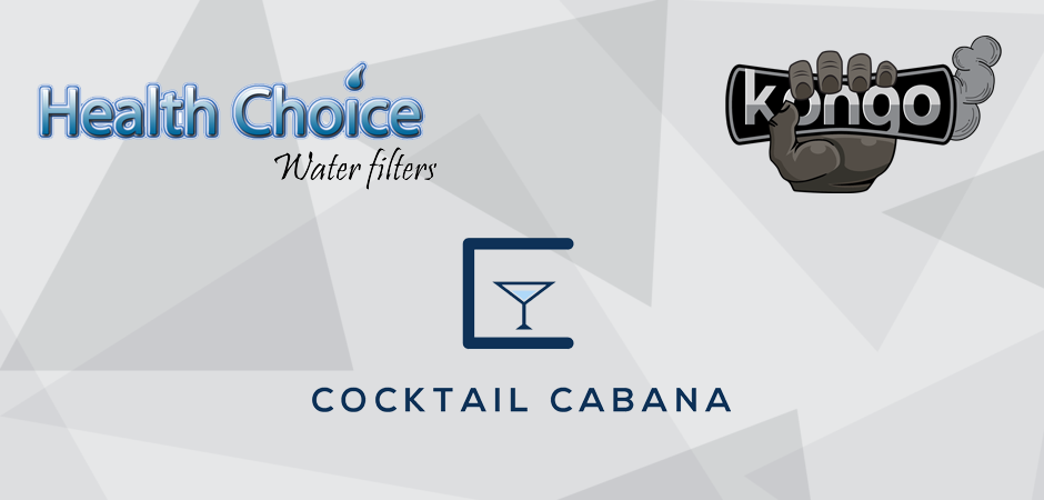 Kongo, Cocktail Cabana, and Health CHoice graphic design logos
