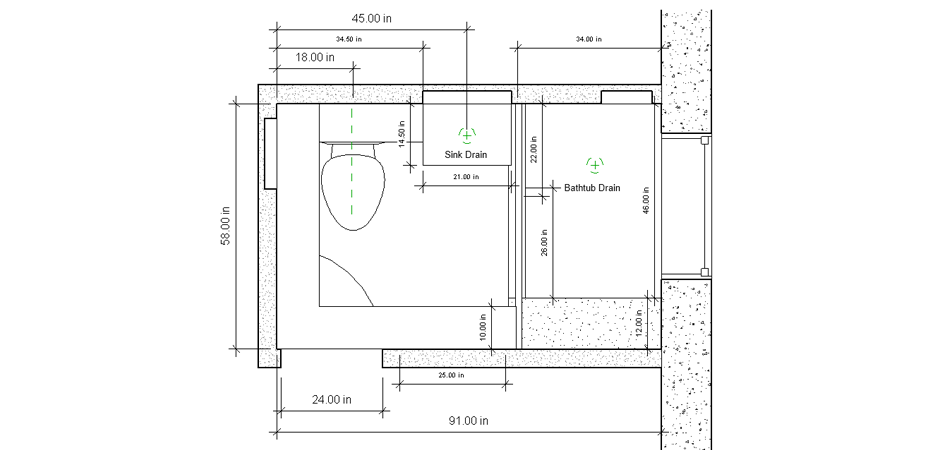 Overhead bathroom renovation sketch concepts with toilet, sink, and a shower with glass doors and a seat
