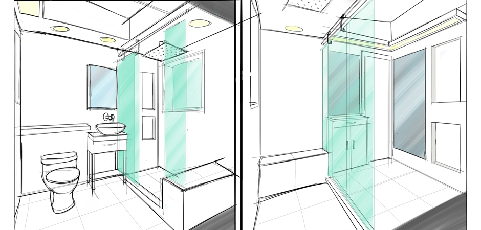 Bathroom architectural renovation sketch concepts with toilet, sink, and a shower with glass doors and a seat
