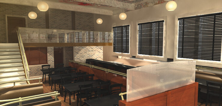 3D interior design rendering of a hotel kitchen with seating, oriental lights, and a second floor.