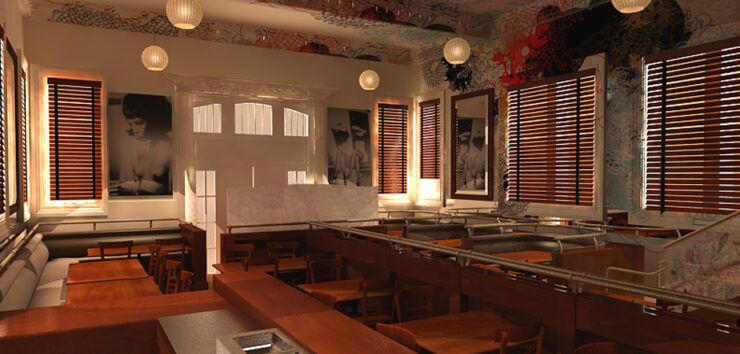 Architectural 3D rendering of a hotel kitchen with seating, oriental decorations, paintings, and a bar