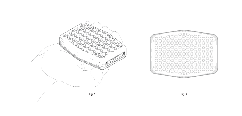 Sud Stud silicone soap sleeve product patent drawings with a hand holding one